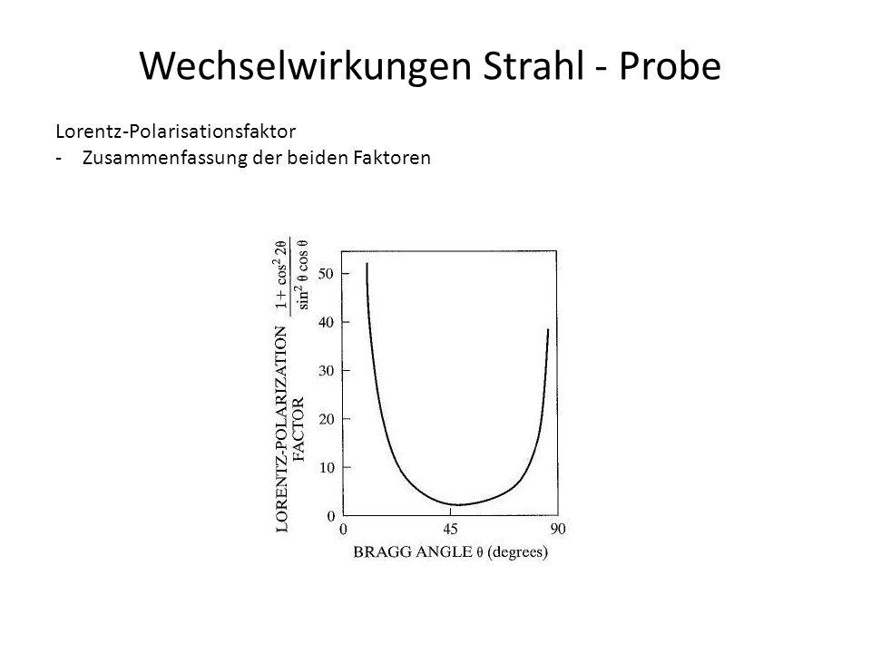 Wechselwirkungen Strahl - Probe Lorentz-Polarisationsfaktor -Zusammenfassung der beiden Faktoren