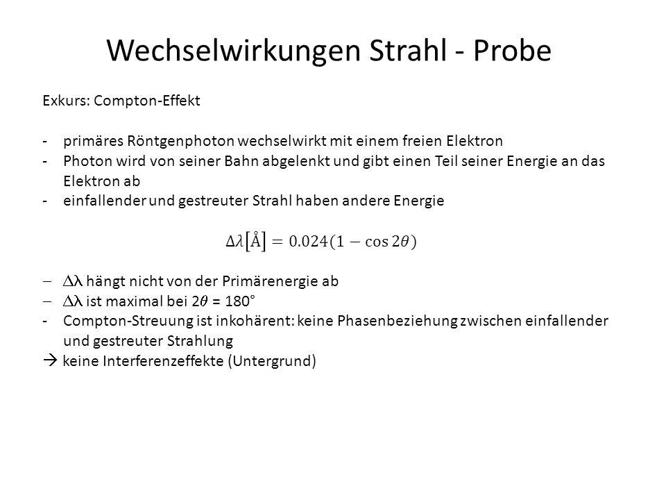 Wechselwirkungen Strahl - Probe Exkurs: Compton-Effekt -primäres Röntgenphoton wechselwirkt mit einem freien Elektron -Photon wird von seiner Bahn abg