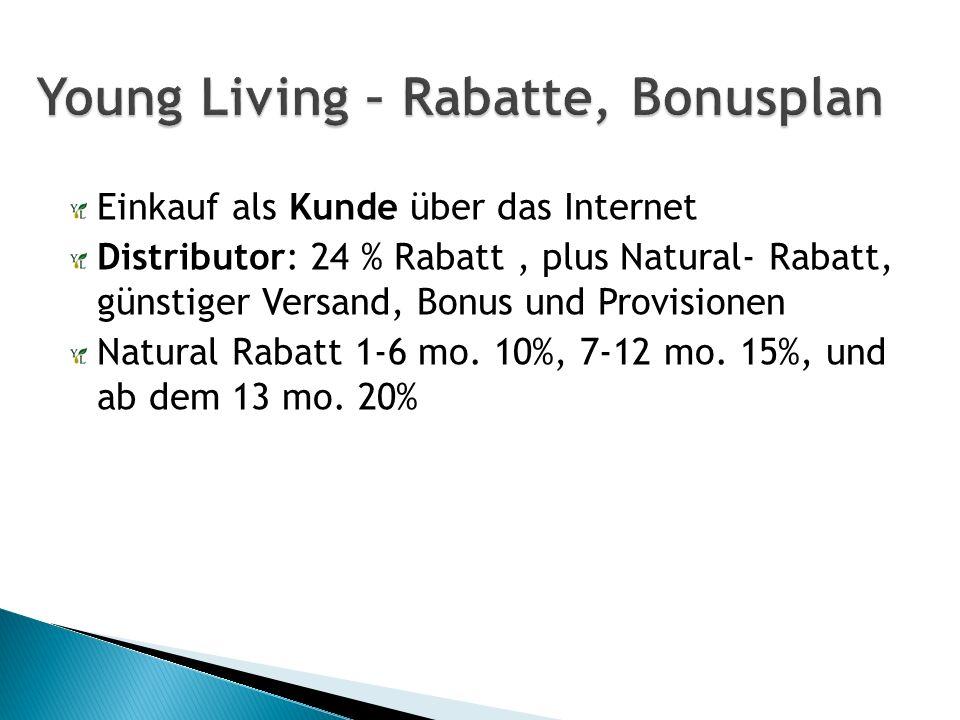 Einkauf als Kunde über das Internet Distributor: 24 % Rabatt, plus Natural- Rabatt, günstiger Versand, Bonus und Provisionen Natural Rabatt 1-6 mo.