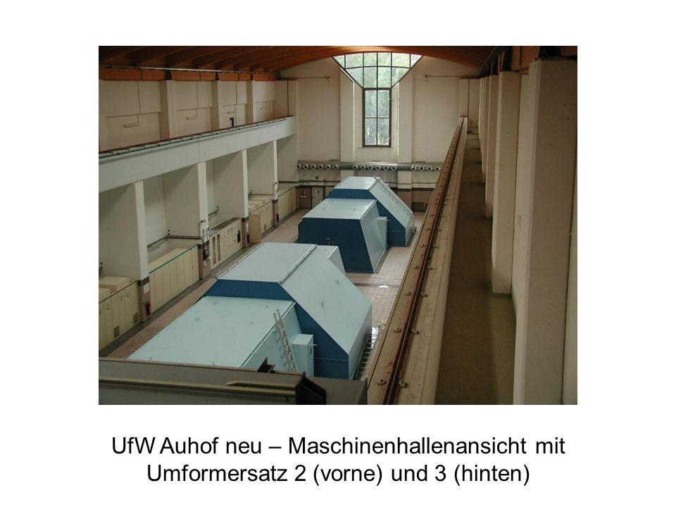 UfW Auhof neu – Maschinenhallenansicht mit Umformersatz 2 (vorne) und 3 (hinten)