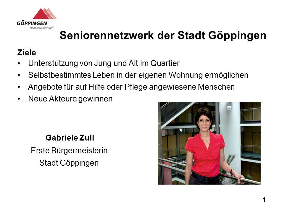 Seniorennetzwerk der Stadt Göppingen Ziele Unterstützung von Jung und Alt im Quartier Selbstbestimmtes Leben in der eigenen Wohnung ermöglichen Angebo