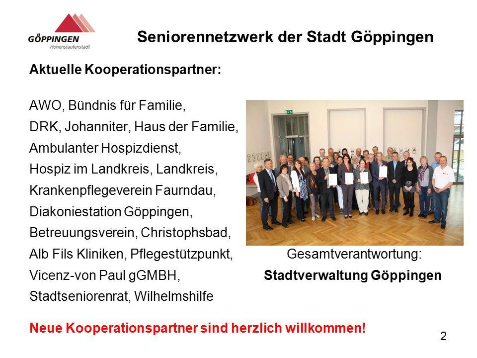 Seniorennetzwerk der Stadt Göppingen Aktuelle Kooperationspartner: AWO, Bündnis für Familie, DRK, Johanniter, Haus der Familie, Ambulanter Hospizdiens
