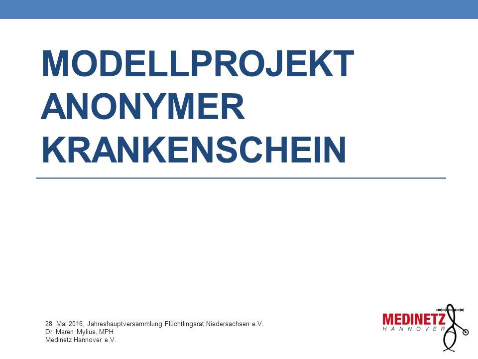 MODELLPROJEKT ANONYMER KRANKENSCHEIN 28. Mai 2016, Jahreshauptversammlung Flüchtlingsrat Niedersachsen e.V. Dr. Maren Mylius, MPH Medinetz Hannover e.