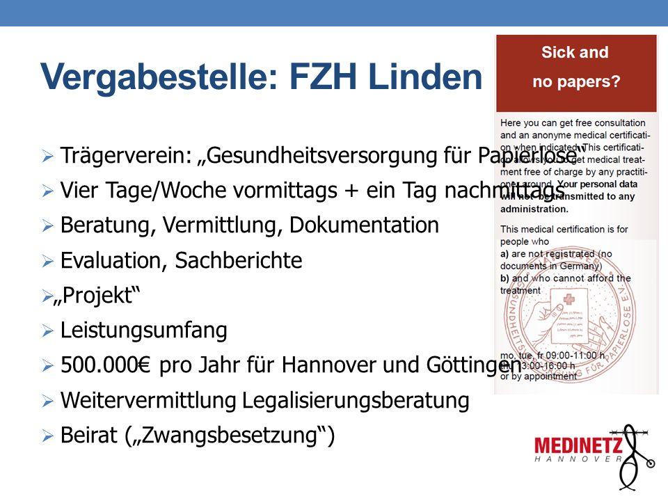 """Vergabestelle: FZH Linden  Trägerverein: """"Gesundheitsversorgung für Papierlose""""  Vier Tage/Woche vormittags + ein Tag nachmittags  Beratung, Vermit"""