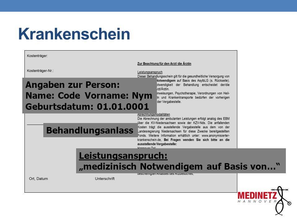 """Krankenschein Angaben zur Person: Name: CodeVorname: Nym Geburtsdatum: 01.01.0001 Behandlungsanlass Leistungsanspruch: """"medizinisch Notwendigem auf Ba"""
