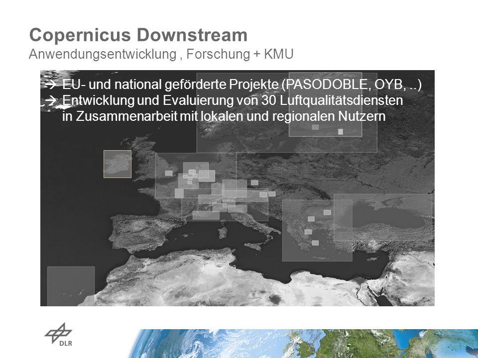 Copernicus Downstream Anwendungsentwicklung, Forschung + KMU Focus on regions and cities, complementary to MACC  EU- und national geförderte Projekte (PASODOBLE, OYB,..)  Entwicklung und Evaluierung von 30 Luftqualitätsdiensten in Zusammenarbeit mit lokalen und regionalen Nutzern