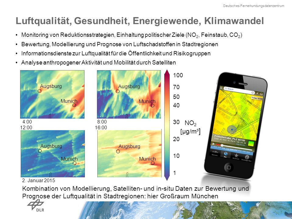Deutsches Fernerkundungsdatenzentrum Recent studies underline links between energy and air pollution UBA study 2014: emission trends 2005-2030 Climate effects can outweigh German reduction plans ( Energiewende ) for NO2, PM10 Shindell et al., 2008: study on short-living greenhouse gases until 2050 radiative forcing (20-25% enhancement) in models mainly due to secondary aerosols Fuller et al., 2014: Contribution of wood burning to PM10 in London higher than reduction by city-zones (factor 6!) Beltman et al., 2013: strong ozone increase (25 – 40%) by 5% more poplar plantations Thilo Erbertseder www.DLR.de Folie 3