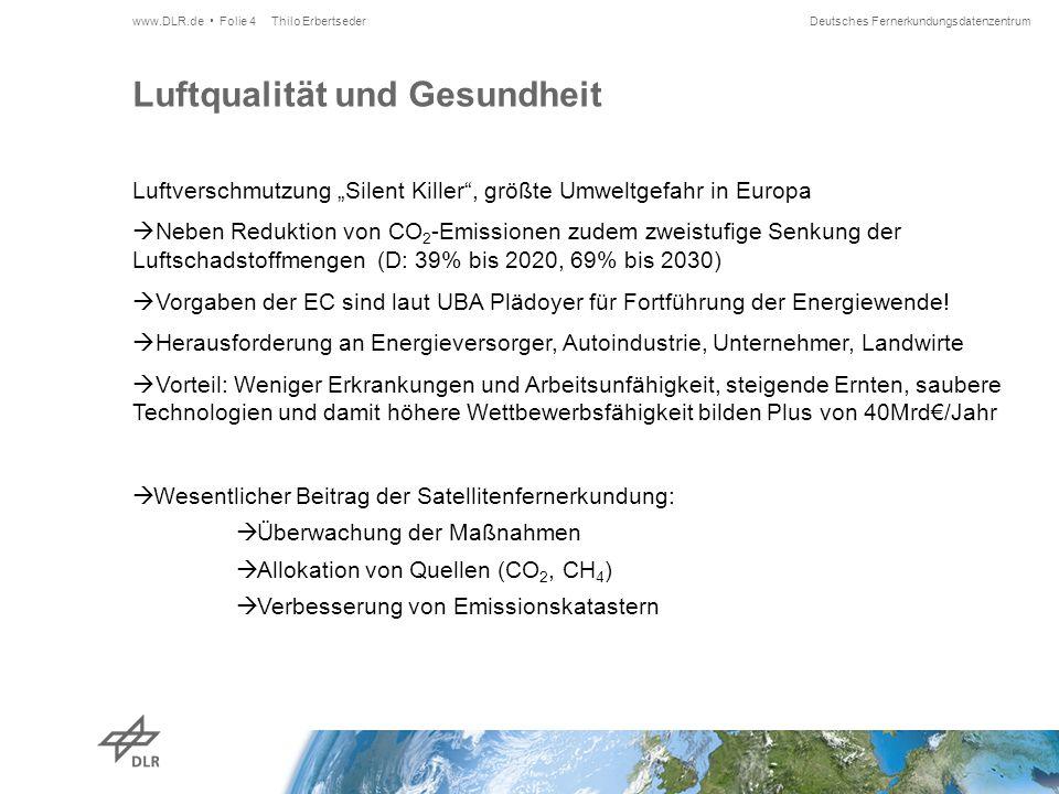 """Deutsches Fernerkundungsdatenzentrum Luftqualität und Gesundheit Luftverschmutzung """"Silent Killer , größte Umweltgefahr in Europa  Neben Reduktion von CO 2 -Emissionen zudem zweistufige Senkung der Luftschadstoffmengen (D: 39% bis 2020, 69% bis 2030)  Vorgaben der EC sind laut UBA Plädoyer für Fortführung der Energiewende."""
