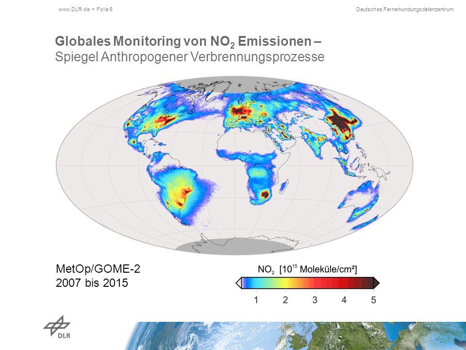 Deutsches Fernerkundungsdatenzentrum Globales Monitoring von NO 2 Emissionen – Spiegel Anthropogener Verbrennungsprozesse www.DLR.de Folie 5 MetOp/GOME-2 2007 bis 2015