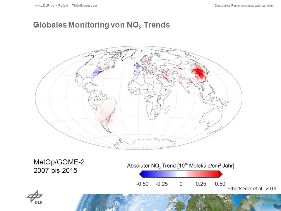Deutsches Fernerkundungsdatenzentrum Globales Monitoring von NO 2 Trends Thilo Erbertseder www.DLR.de Folie 6 Erbertseder et al., 2014 MetOp/GOME-2 2007 bis 2015