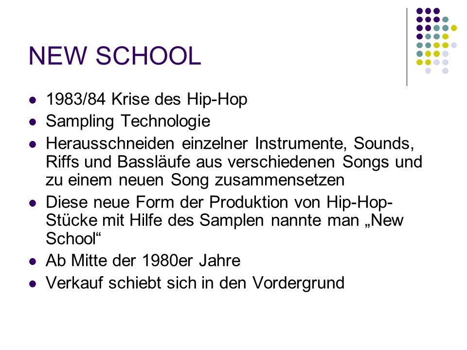 """NEW SCHOOL 1983/84 Krise des Hip-Hop Sampling Technologie Herausschneiden einzelner Instrumente, Sounds, Riffs und Bassläufe aus verschiedenen Songs und zu einem neuen Song zusammensetzen Diese neue Form der Produktion von Hip-Hop- Stücke mit Hilfe des Samplen nannte man """"New School Ab Mitte der 1980er Jahre Verkauf schiebt sich in den Vordergrund"""
