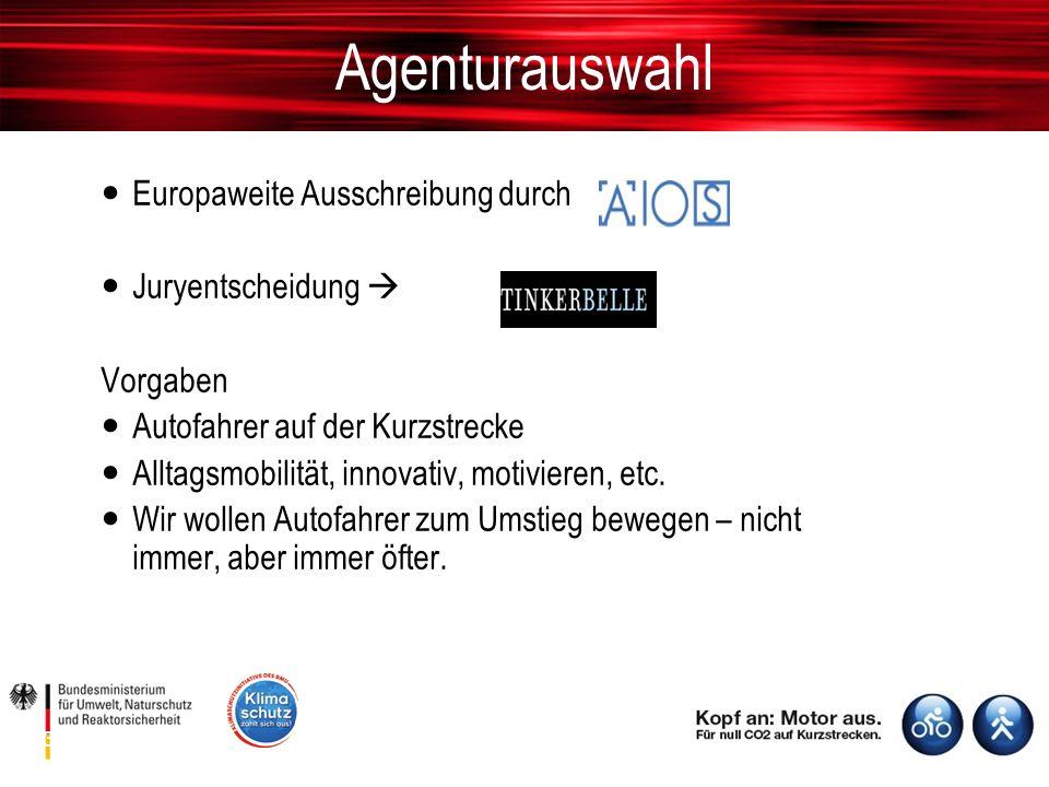 Europaweite Ausschreibung durch Juryentscheidung  Vorgaben Autofahrer auf der Kurzstrecke Alltagsmobilität, innovativ, motivieren, etc.