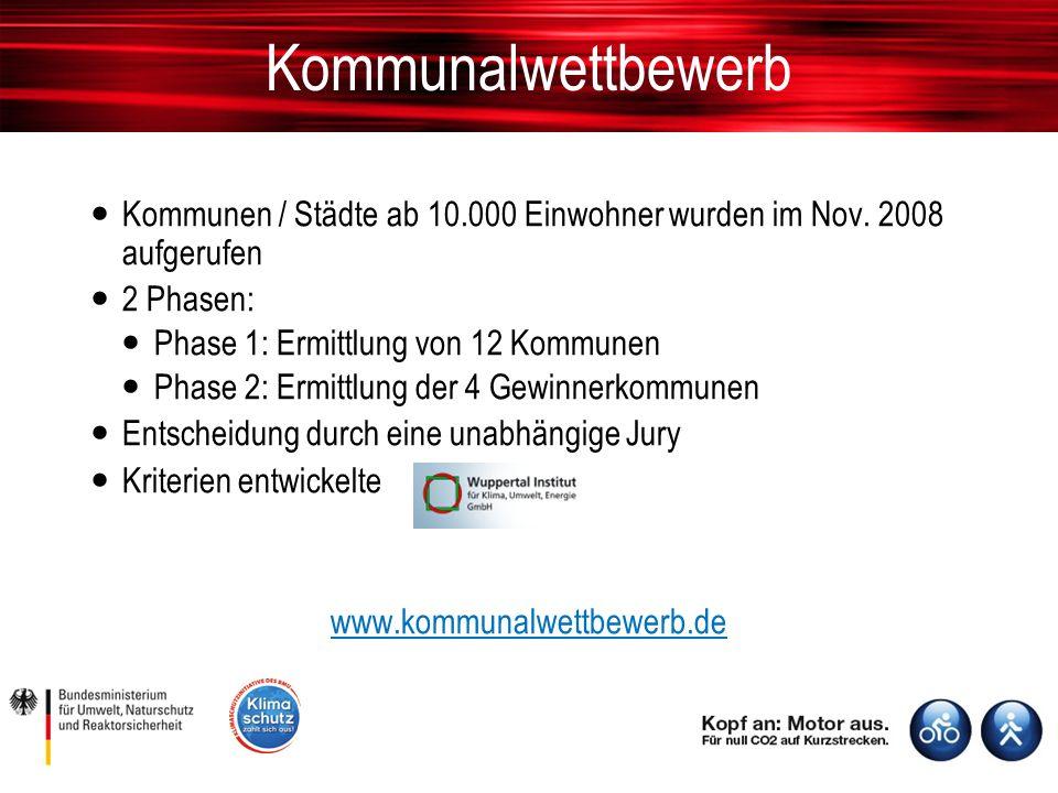 Kommunalwettbewerb Kommunen / Städte ab 10.000 Einwohner wurden im Nov.