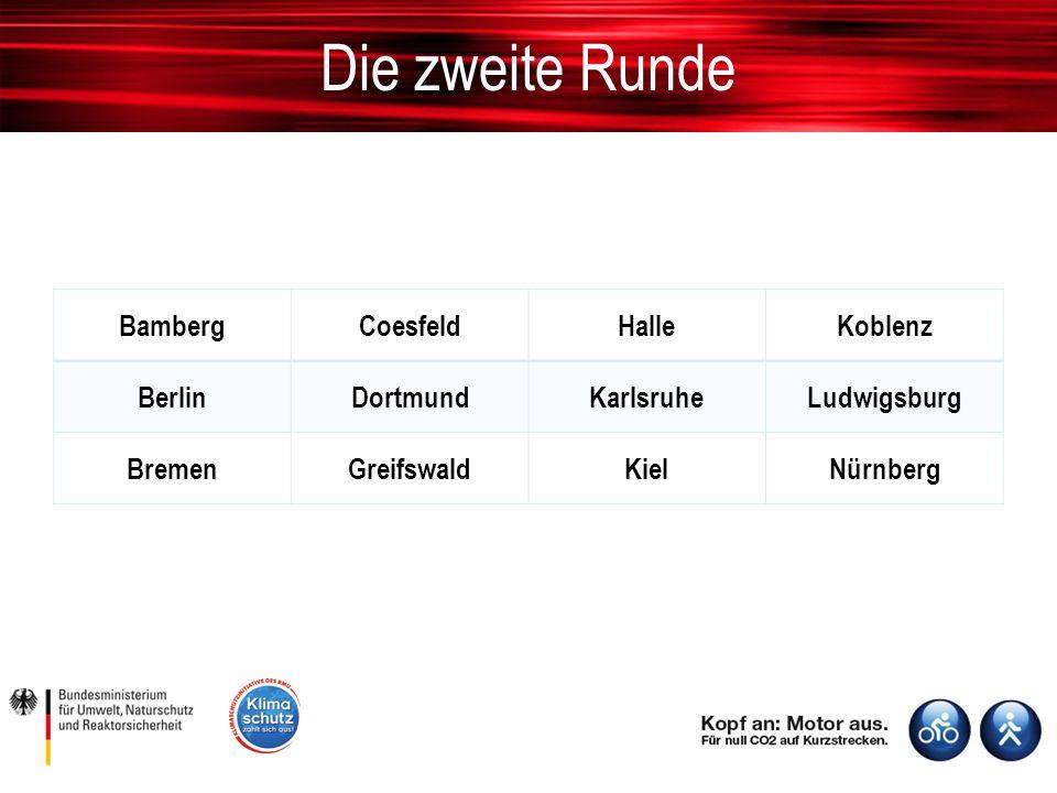 Die zweite Runde BambergCoesfeldHalleKoblenz BerlinDortmundKarlsruheLudwigsburg BremenGreifswaldKielNürnberg