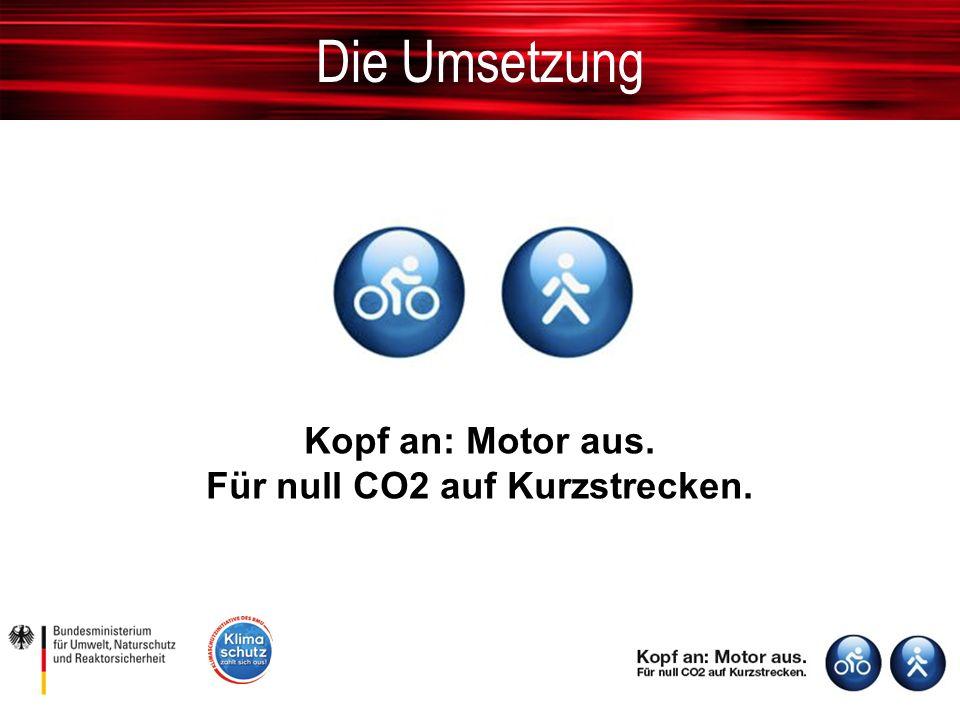 Die Umsetzung Kopf an: Motor aus. Für null CO2 auf Kurzstrecken.