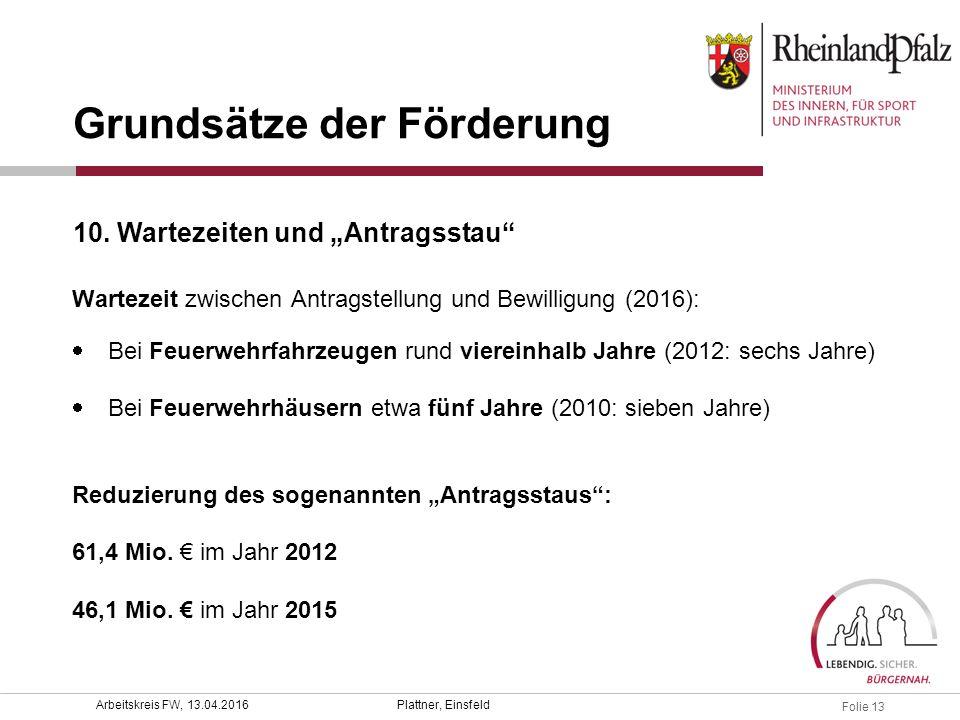 Folie 13 Plattner, EinsfeldArbeitskreis FW, 13.04.2016 Wartezeit zwischen Antragstellung und Bewilligung (2016):  Bei Feuerwehrfahrzeugen rund vierei