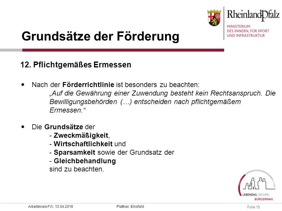 """Folie 15 Plattner, EinsfeldArbeitskreis FW, 13.04.2016  Nach der Förderrichtlinie ist besonders zu beachten: """"Auf die Gewährung einer Zuwendung beste"""