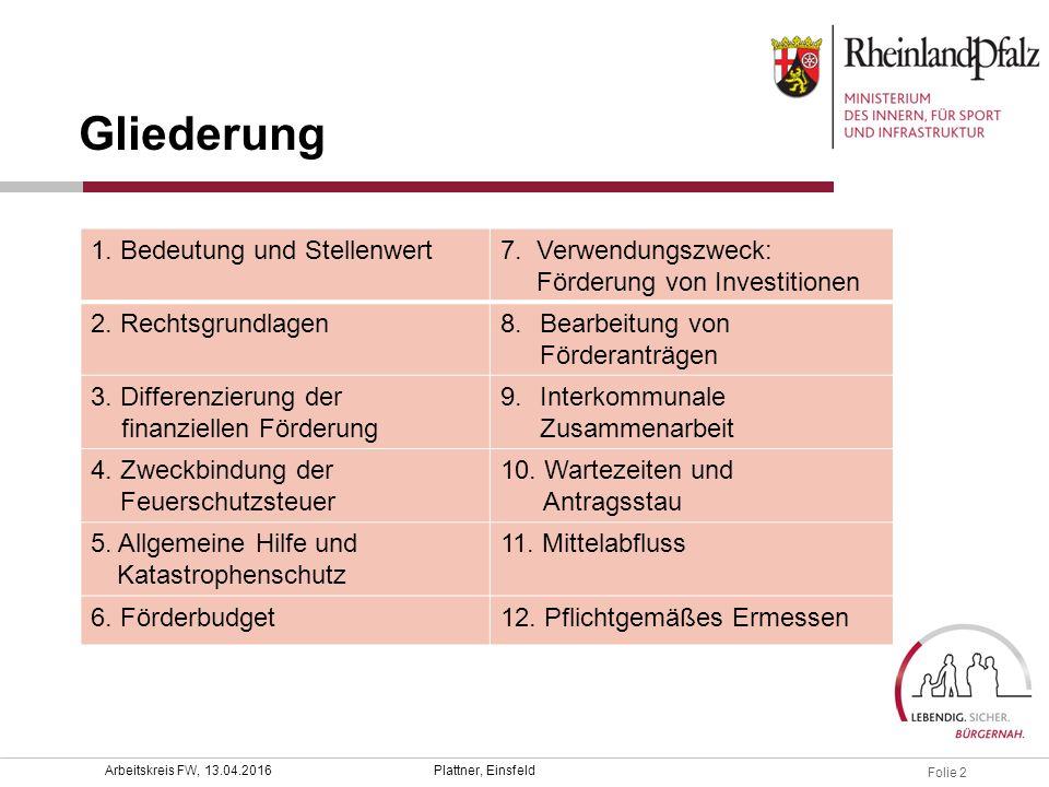 Folie 2 Plattner, EinsfeldArbeitskreis FW, 13.04.2016 Gliederung 1. Bedeutung und Stellenwert7. Verwendungszweck: Förderung von Investitionen 2. Recht