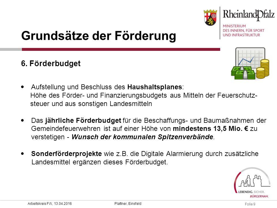 Folie 9 Plattner, EinsfeldArbeitskreis FW, 13.04.2016  Aufstellung und Beschluss des Haushaltsplanes: Höhe des Förder- und Finanzierungsbudgets aus M
