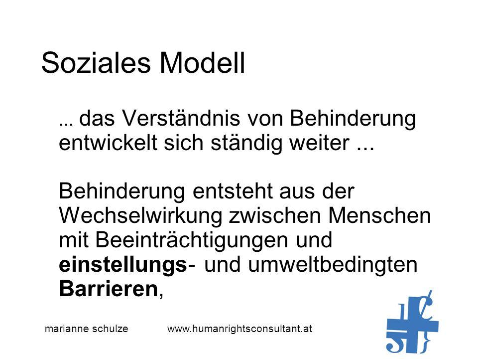 Soziales Modell... das Verständnis von Behinderung entwickelt sich ständig weiter...