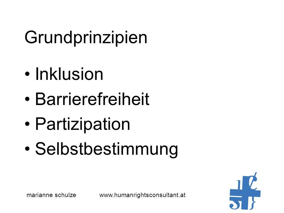 Grundprinzipien Inklusion Barrierefreiheit Partizipation Selbstbestimmung marianne schulze www.humanrightsconsultant.at