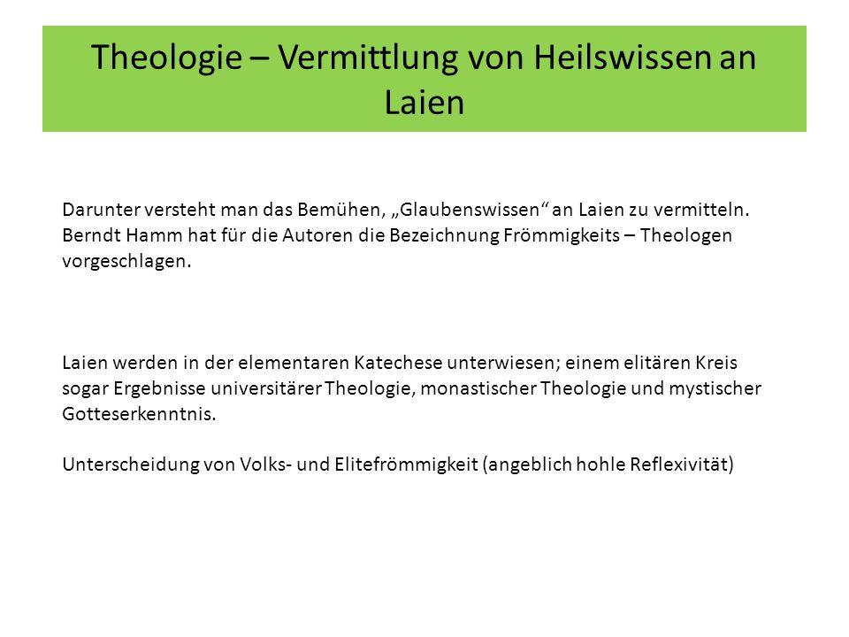 """Theologie – Vermittlung von Heilswissen an Laien Darunter versteht man das Bemühen, """"Glaubenswissen an Laien zu vermitteln."""