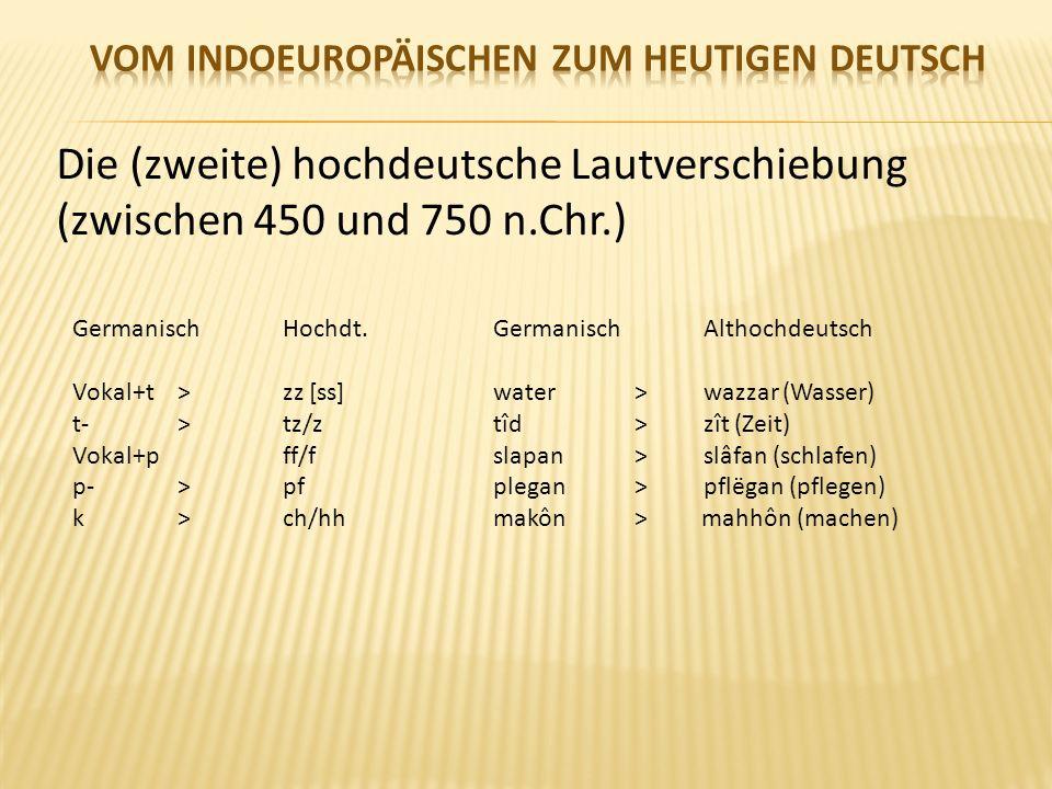 Die (zweite) hochdeutsche Lautverschiebung (zwischen 450 und 750 n.Chr.) GermanischHochdt.GermanischAlthochdeutsch Vokal+t>zz [ss]water >wazzar (Wasser) t- >tz/ztîd > zît (Zeit) Vokal+p ff/fslapan >slâfan (schlafen) p->pfplegan > pflëgan (pflegen) k>ch/hhmakôn > mahhôn (machen)