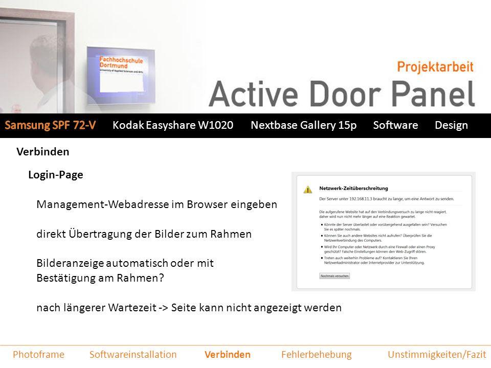 Kodak Easyshare W1020Nextbase Gallery 15pSoftwareDesign Verbinden Login-Page Management-Webadresse im Browser eingeben direkt Übertragung der Bilder zum Rahmen Bilderanzeige automatisch oder mit Bestätigung am Rahmen.
