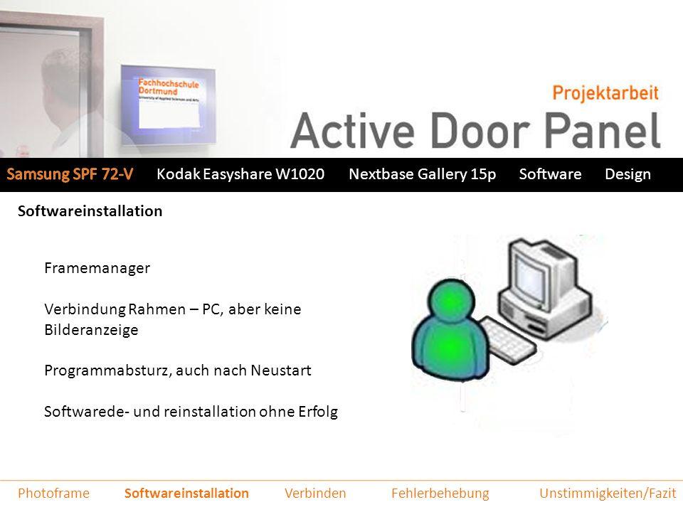 Samsung SPF 72-VNextbase Gallery 15pSoftwareDesign Funktionsweise Bild wird generiert und als neuer Eintrag im RSS-Feed gespeichert Benutzer greift auf das Formular zu und gibt seine Daten ein das Bild wird nach ca.