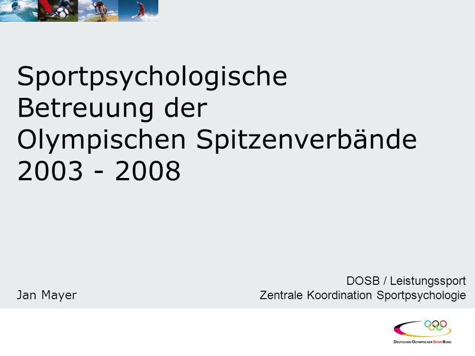 Sportpsychologische Betreuung der Olympischen Spitzenverbände 2003 - 2008 Jan Mayer DOSB / Leistungssport Zentrale Koordination Sportpsychologie