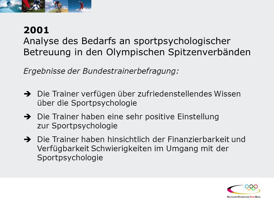 2001 Analyse des Bedarfs an sportpsychologischer Betreuung in den Olympischen Spitzenverbänden Ergebnisse der Bundestrainerbefragung:  Die Trainer ve