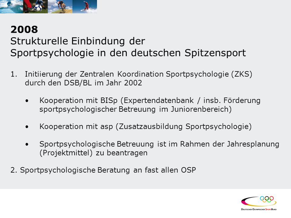 2008 Strukturelle Einbindung der Sportpsychologie in den deutschen Spitzensport 1.Initiierung der Zentralen Koordination Sportpsychologie (ZKS) durch den DSB/BL im Jahr 2002 Kooperation mit BISp (Expertendatenbank / insb.