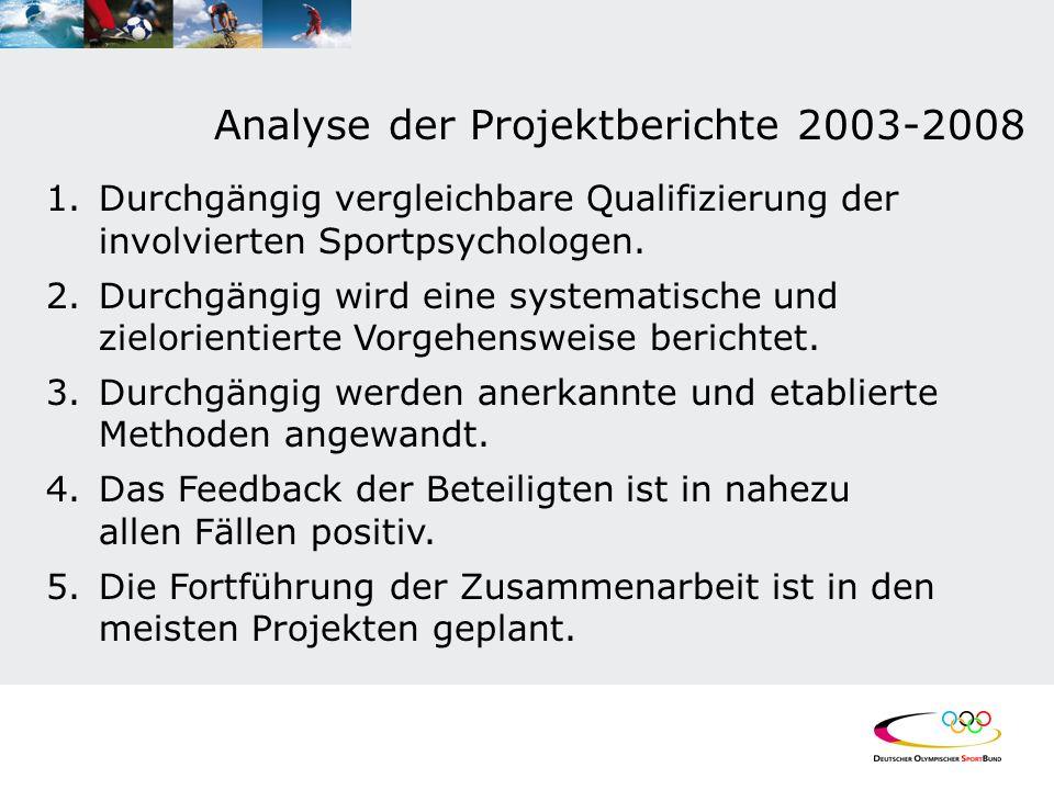 Analyse der Projektberichte 2003-2008 1.Durchgängig vergleichbare Qualifizierung der involvierten Sportpsychologen. 2.Durchgängig wird eine systematis