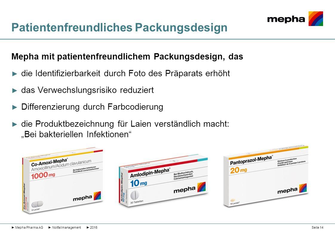 Patientenfreundliches Packungsdesign Mepha mit patientenfreundlichem Packungsdesign, das ► die Identifizierbarkeit durch Foto des Präparats erhöht ► d