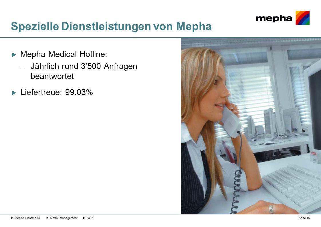 Spezielle Dienstleistungen von Mepha ► Mepha Medical Hotline: –Jährlich rund 3'500 Anfragen beantwortet ► Liefertreue: 99.03% ► Mepha Pharma AG ► Notf