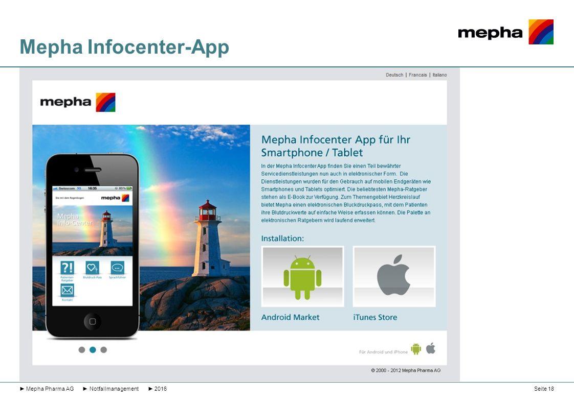 Mepha Infocenter-App ► Mepha Pharma AG ► Notfallmanagement ► 2016Seite 18