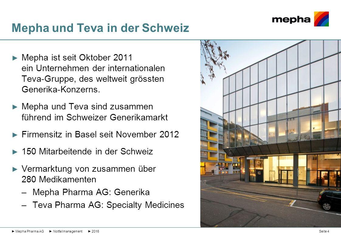 Mepha und Teva in der Schweiz ► Mepha ist seit Oktober 2011 ein Unternehmen der internationalen Teva-Gruppe, des weltweit grössten Generika-Konzerns.