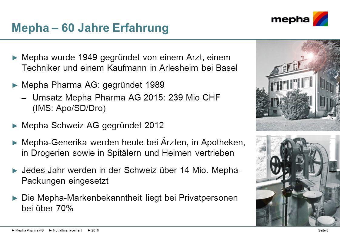 Mepha – 60 Jahre Erfahrung ► Mepha wurde 1949 gegründet von einem Arzt, einem Techniker und einem Kaufmann in Arlesheim bei Basel ► Mepha Pharma AG: g