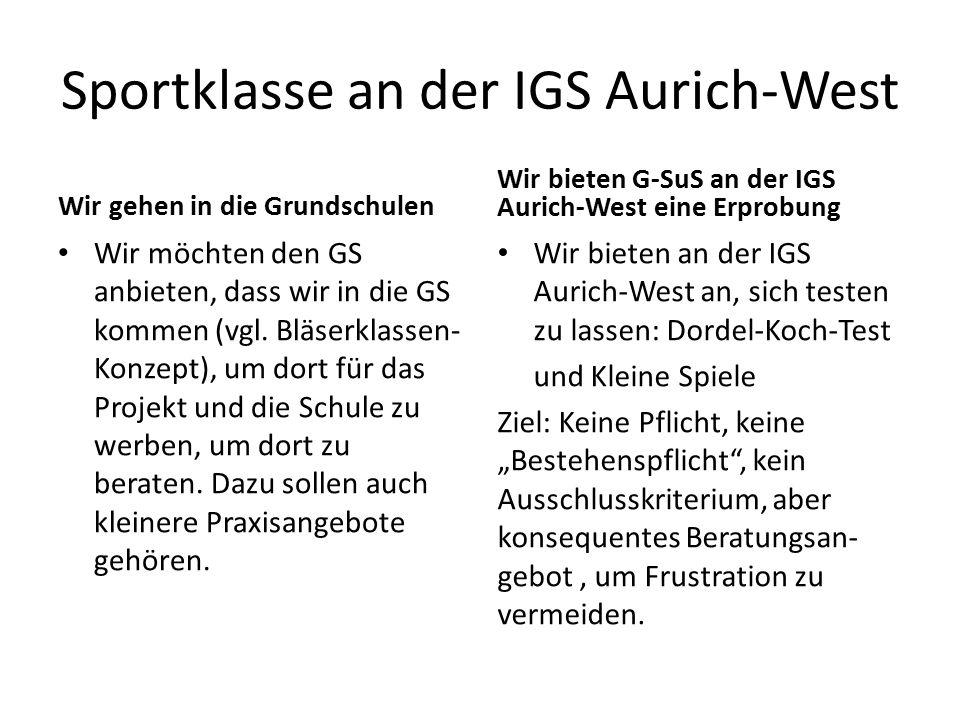 Sportklasse an der IGS Aurich-West Wir gehen in die Grundschulen Wir möchten den GS anbieten, dass wir in die GS kommen (vgl.