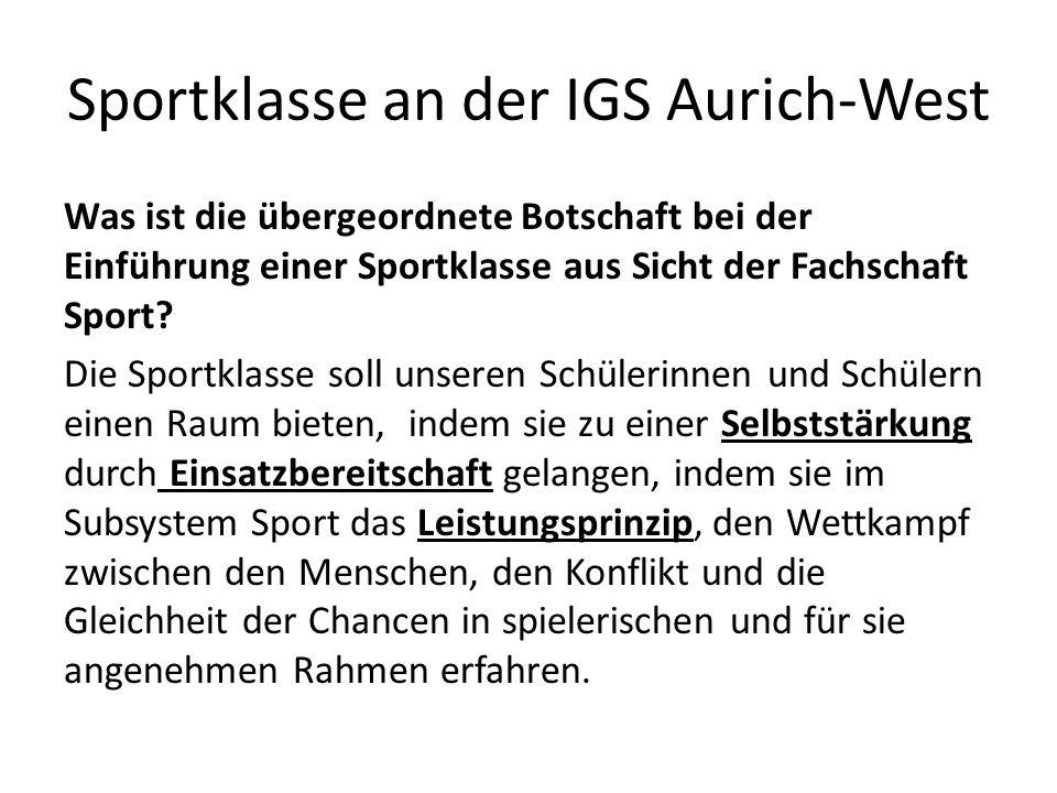 Sportklasse an der IGS Aurich-West Was ist die übergeordnete Botschaft bei der Einführung einer Sportklasse aus Sicht der Fachschaft Sport.