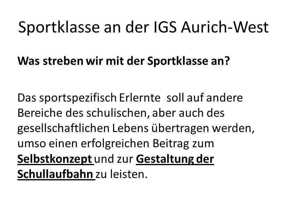 Sportklasse an der IGS Aurich-West Was streben wir mit der Sportklasse an.