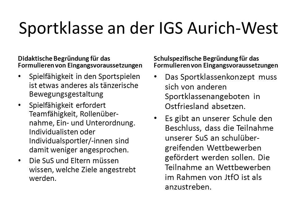 Sportklasse an der IGS Aurich-West Didaktische Begründung für das Formulieren von Eingangsvoraussetzungen Spielfähigkeit in den Sportspielen ist etwas anderes als tänzerische Bewegungsgestaltung Spielfähigkeit erfordert Teamfähigkeit, Rollenüber- nahme, Ein- und Unterordnung.