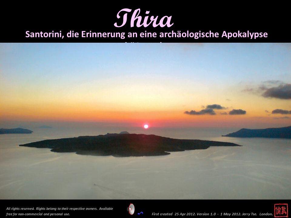 Dies ist die Eruption von 1926. Dichter Rauch quillt aus dem Krter auf der Insel Nea Kameni