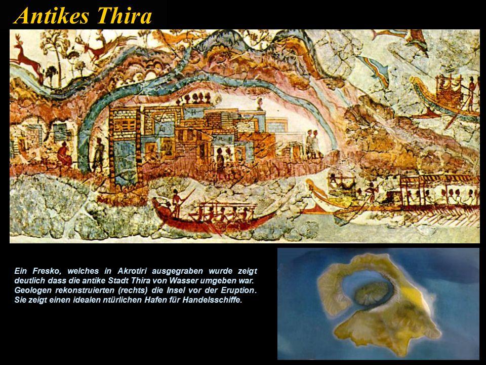 Thira war ein wichtiger Handelsplatz in der minoischen Zeit mit einfachem Zugang zu der griechischen Welt rund um die Ägäis, in einer Zeit als die Beförderung der Waren auf dem Wasser viel einfacher war als auf dem Landweg.