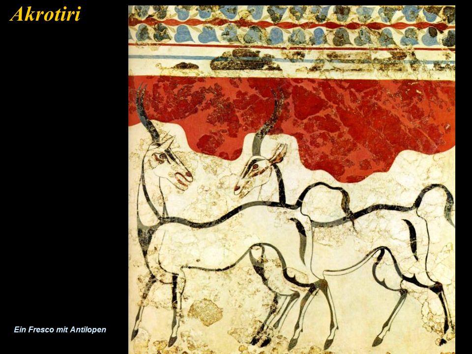 Akrotiri ist bekannt für seine gut erhaltenen Fresken. Dies sind Bilder aus der frühesten europäischen Zivilisation und zeigen uns den Wohlstand der d