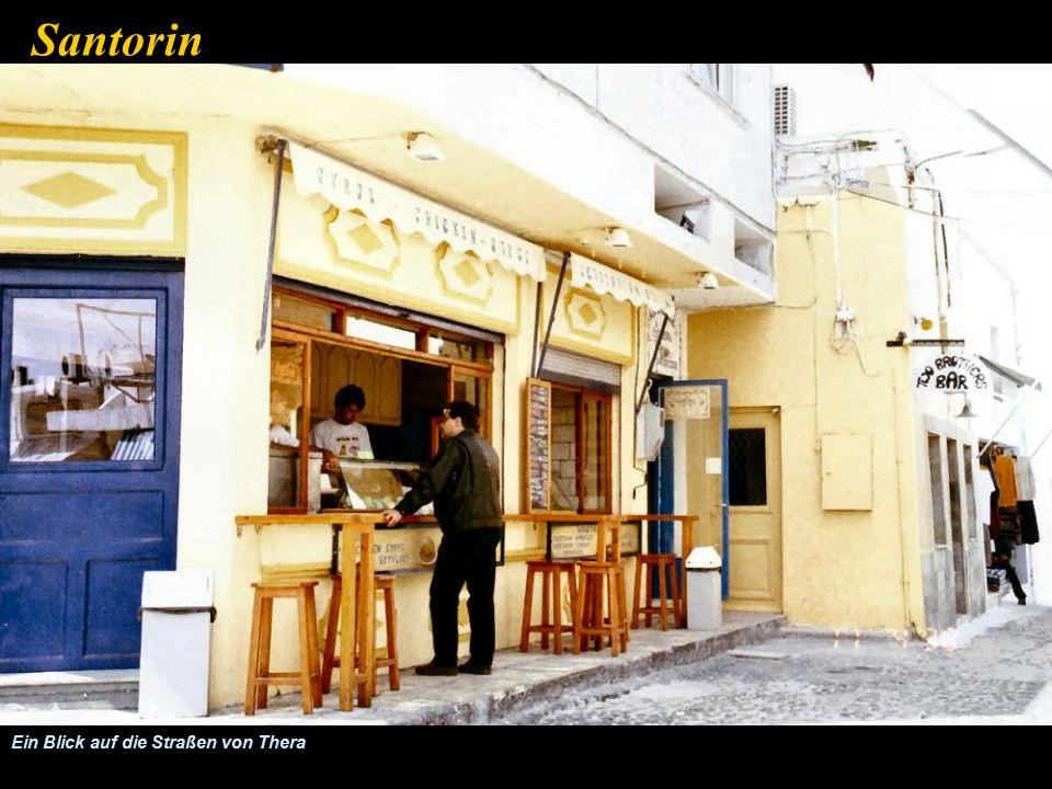 Terassen-Restaurant in der Innenstadt von Thera Santorin