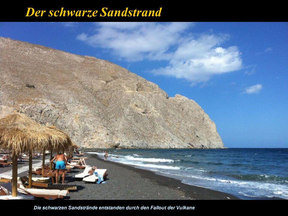 In der Mitte der Caldera liegt die Insel Ne Kameni, die durch den Ausbruch im Jahre 1650 v.Chr.