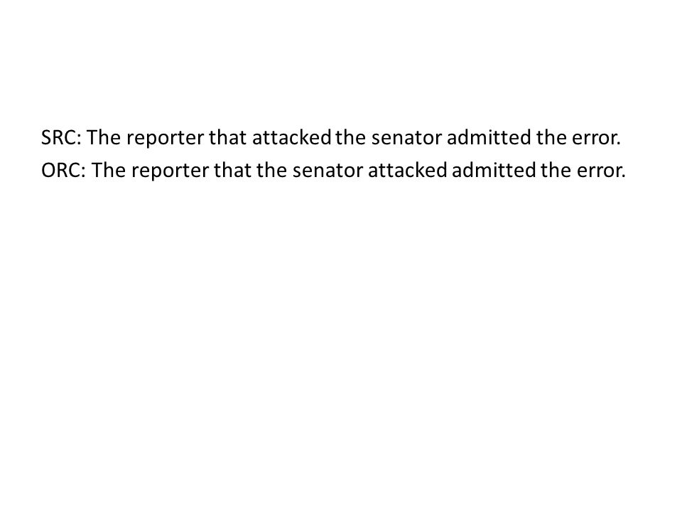 ORC (Activation main verb) ORC: The reporter that the senator attacked admitted the error.