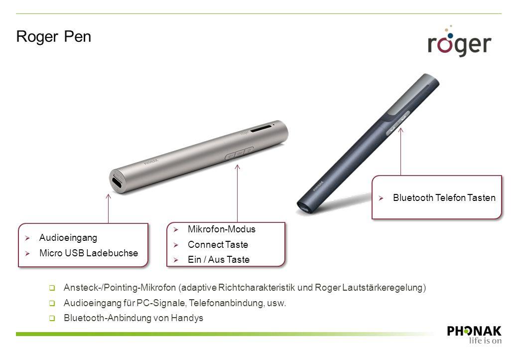 Roger Pen  Mikrofon-Modus  Connect Taste  Ein / Aus Taste  Mikrofon-Modus  Connect Taste  Ein / Aus Taste  Audioeingang  Micro USB Ladebuchse
