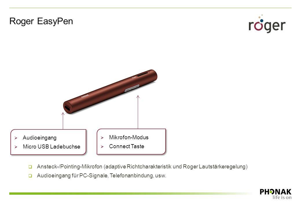Roger EasyPen  Mikrofon-Modus  Connect Taste  Mikrofon-Modus  Connect Taste  Audioeingang  Micro USB Ladebuchse  Audioeingang  Micro USB Ladeb